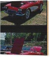 Double Red Corvette Wood Print