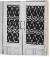 double wooden doors with wrought iron decorative window guards Tenerife Canary Islands Spain Wood Print