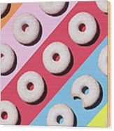 Doughnuts On Colourful Background Wood Print