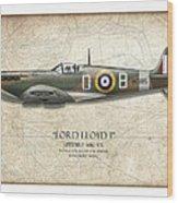 Douglas Bader Spitfire - Map Background Wood Print by Craig Tinder