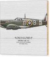 Douglas Bader Spitfire - White Background Wood Print