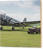 Douglas C-47a Skytrain Ready For D-day Wood Print