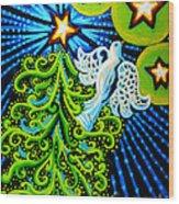 Dove And Christmas Tree Wood Print