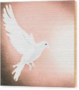 Dove In Flight Red Wood Print