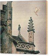 Dove Landing On Church Wood Print