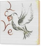 Dove Of Love Wood Print
