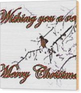Dove - Snowy Limb - Christmas Card Wood Print
