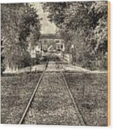 Down By The Tracks - Aged Wood Print