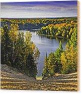 Down Hill Into Fall Wood Print