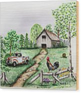 Down On The Farm Wood Print by Lena Auxier