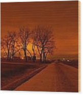 Down The Haunting Road Under The Orange Sky Wood Print