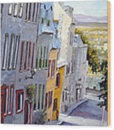 Down The Hill Old Quebec City Wood Print