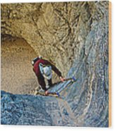 Down The Ladder In Big Painted Canyon Trail In Mecca Hills-ca  Wood Print
