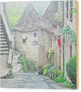 Down The Lane In St Cirq Lapopie Wood Print