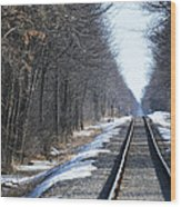 Down The Rails Wood Print