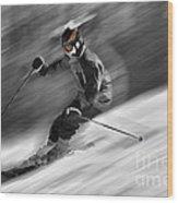 Downhill Skier  Wood Print by Dan Friend