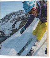 Downhill Skiier In Portillo, Chile Wood Print