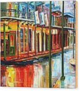Downpour On Bourbon Street Wood Print by Diane Millsap