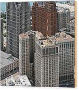 Downtown Aerial Of Detroit Michigan Wood Print