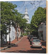 Downtown Annapolis With Maryland State House Cupola Wood Print