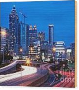 Downtown Atlanta At Dusk Wood Print