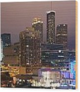 Downtown Atlanta Skyline At Dusk Wood Print