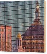 Downtown Boston Reflection Wood Print