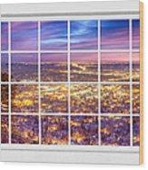 Downtown Boulder Colorado City Lights Sunrise  Window View 8lg Wood Print