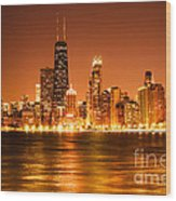 Downtown Chicago At Night With Chicago Skyline Wood Print by Paul Velgos