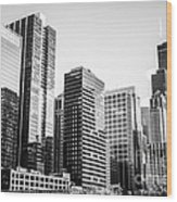 Downtown Chicago Buildings In Black And White Wood Print