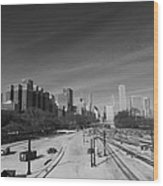 Downtown Chicago Train Tracks Black And White Wood Print