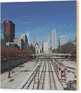 Downtown Chicago With Train Tracks Wood Print