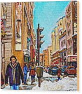 Downtown City Life Wood Print