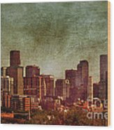 Downtown Denver Antiqued Postcard Wood Print