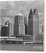 Downtown Detroit Riverfront Bw Wood Print