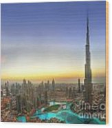 Downtown Dubai At Sunset Wood Print by Lars Ruecker