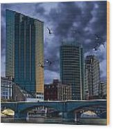 Downtown Grand Rapids Michigan By The Grand River With Gulls Wood Print