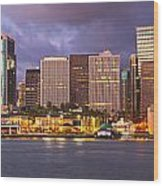 Downtown Honolulu Hawaii Dusk Skyline Wood Print