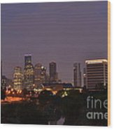 Downtown Houston Before Fireworks Wood Print by Aaron Edrington