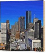 Downtown Houston Painted Wood Print
