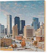Downtown Houston Panorama Wood Print