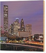 Downtown Houston Texas Skyline Beating Heart Of A Bustling City Wood Print by Silvio Ligutti