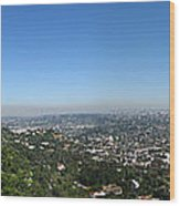 Downtown La From Griffith Observatory Wood Print