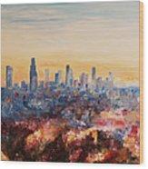 Downtown Los Angeles At Dusk Wood Print