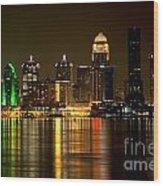 Downtown Louisville Kentucky Skyline Night Shot Wood Print