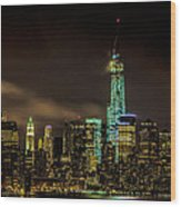 Downtown Manhattan At Night Wood Print