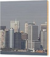 Downtown Manhattan Shot From The Staten Island Ferry Wood Print