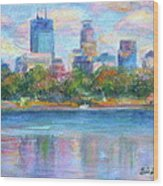 Downtown Minneapolis Skyline From Lake Calhoun Wood Print by Quin Sweetman