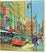 Downtown Montreal Eatons Centre Complex Les Ailes Old Navy Rue Mcgill College City Scenes  C Spandau Wood Print