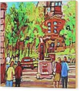 Downtown Montreal Mcgill University Streetscenes Wood Print